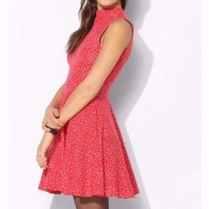 Kimchi Blue Red Skater Dress w/ White Hearts